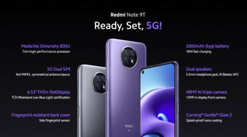 Xiaomi Redmi Note 9T 64GB RAM 4GB 5G شیائومی نوت ۹تی ظرفیت ۶۴گیگابایت رم ۴گیگابایت